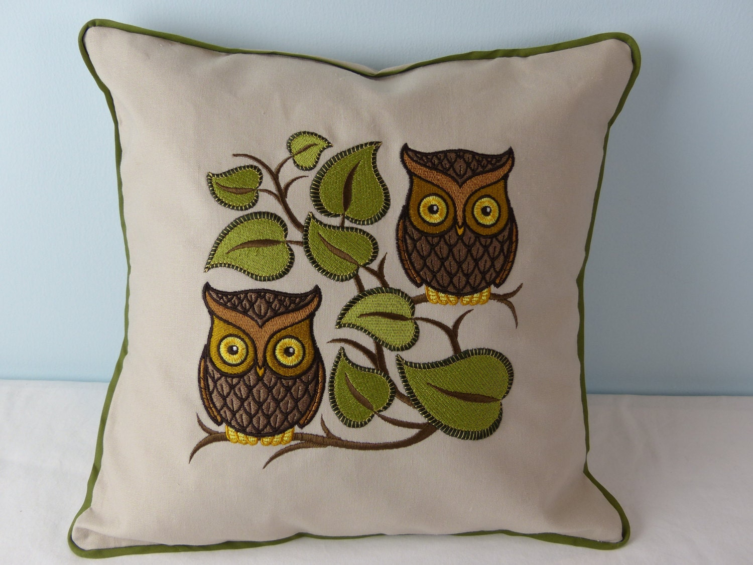 owl throw pillow cover embroidered cushion nature gift