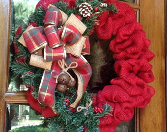 Burlap Wreath, Christmas Burlap Wreath, Rustic country Christmas Wreath, Sleigh Bells, Red Burlap