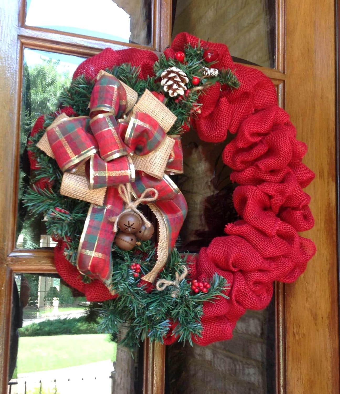 Burlap Wreath Christmas Burlap Wreath Rustic Country