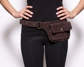Single Pocket Hip Handmade Suede Waist Pack Bag Party Festival Style Belt Utility Pouch Playa psy trance rave - Brown & Light Brown Color