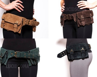 Hip Handmade Suede Waist Pack Bag Party Festival Style Belt Utility Pouch Playa psy trance rave