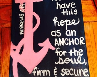 Anchor Bible Verse Hand-Painted Canvas