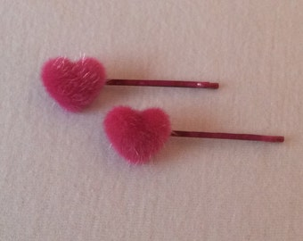 Heart shaped faux fur/mink detailed hair slides, grips, clips, bobby pins, kirby grips, Romany/Spanish Style, cute