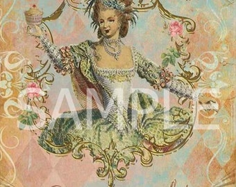 Fabric Block  Marie Antoinette * Let them eat Cake* Collage 11063- FREE SHIPPING