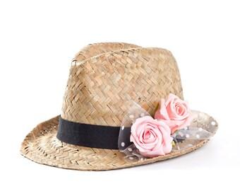 Fedora hat , Custom hats , Straw hat , Sun hat , Hats for women , Pink roses decoration.