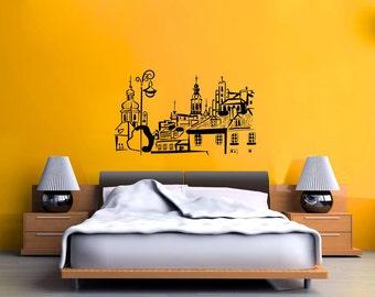 Old Village Skyline Vinyl Wall Decal  Wall Art Sticker Room Decor
