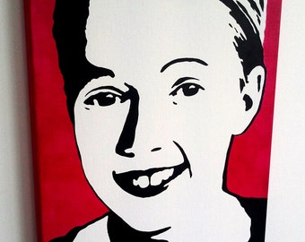 Custom Stencil Art Portrait, Hand Painted Stencil Art on Canvas, Made To Order and Ready To Hang.