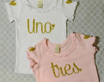 Girls Birthday Shirt:  Ruffle Shirt / Gold Glitter