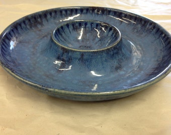 Stoneware Pottery Chip and Dip Serving Tray