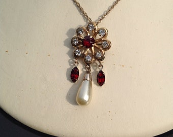 Vintage Mid Century 1950's Red Rhinestone Gold Filled Pin Pendant Signed Bal -Ron