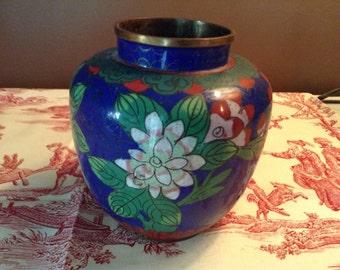 Blue Chinese Cloisonne ginger jar