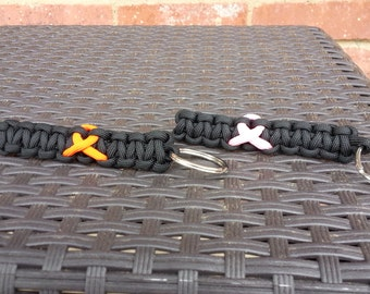 Breast cancer and Animal cruelty awareness paracord keychains
