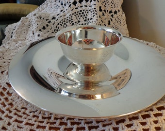 Silver Plate Dip Tray Platter Round