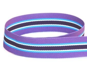 "5 yards 7/8"" Grape Juice Purple Blue Stripes Grosgrain Woven Ribbon"