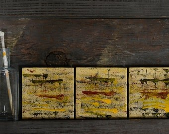 Abstract Ceramic Wall Art Acrylic Paintings - Set of 3