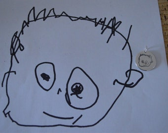 Silver artwork charm or keyring - your childs drawing!