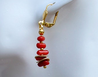 Coral earrings with gold-plated gave