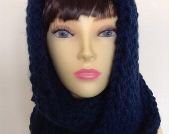 Knitted Infinity Loop Scarf in Dark Blue