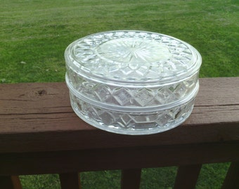 Nice Round Cut Glass Server with Cover.