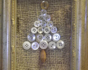 Framed Button Holiday / Christmas Tree