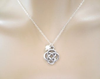 Celtic, Knot, White, Pearl, Silver, Necklace, Infinity, Lovers, Best friends, Sister, Gift