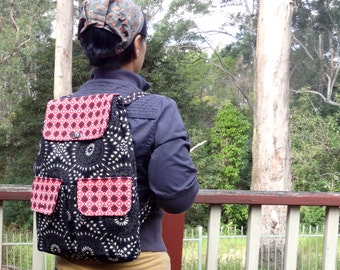 Eclectic Womens Backpack, Hipster Canvas Backpack, Travel Backpack, Haversack in Black Red White - Floral Womens Backpack, Womens Day Pack