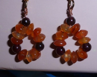 OOAK Carnelian Garnet Bead Earrings