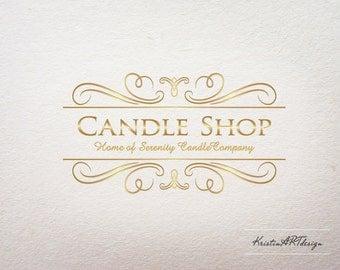 Premade logo -Candle shop logo- Soap logo- Beauty products logo - Gold logo, Ornaments logo, Logo design - Watermark 025