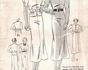Butterick 6946 Frock with 4-Gored Skirt & Detachable Peplum / ca. 1936 / SZ16 COMPLETE