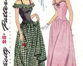 Simplicity 1453 Belle of the Ball Evening Dress / ca. 1946 / SZ12 COMPLETE