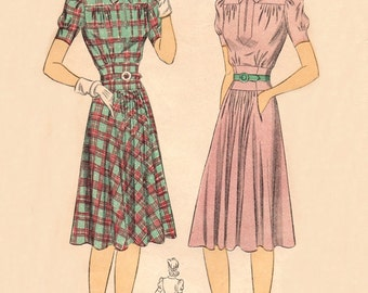 DuBarry 5190 Eye Pleasing Tailored Dress 1941 / SZ14  Factory Folds