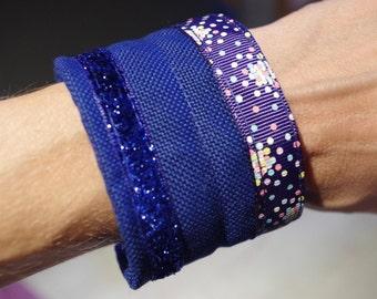 Fabric Bracelet, blue and shinny. flexible metal frame