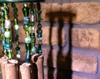 Bamboo Wind Chime Adorned in Shades of Greens or Blues