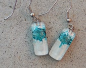 Small White and Turquoise Fused Glass Earrings