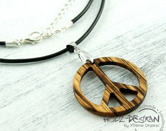 Peace Pendant Necklace Gothic amulet Medallion Organic Wooden Chain Natural Jewelry