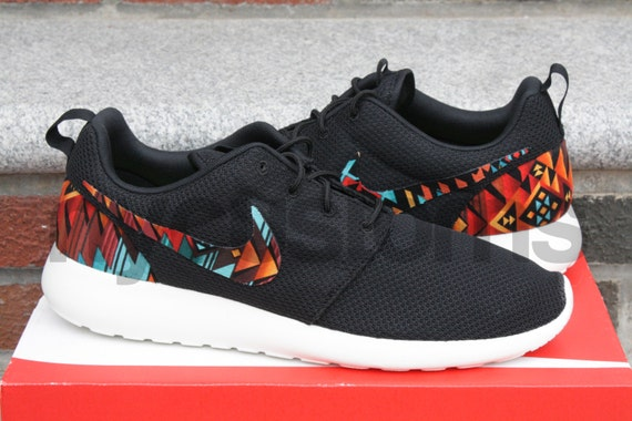 buy popular 83c68 9d87f free shipping Roshe Run Nike Black Anthracite Aztec Tribal Print by  NYCustoms