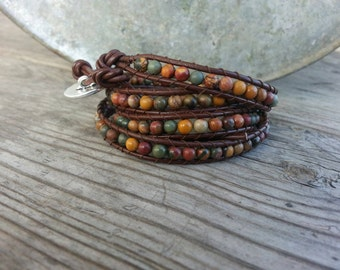 Red Creek Jasper gemstone leather wrap bracelet