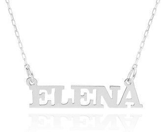 14K White Gold Personalized Capital Name Necklace - Custom Made Any Name