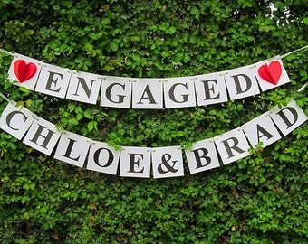 Engaged Bride and Groom Sign / Engagement Banner / Engaged Sign / Engagement Sign