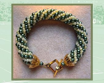 Beautiful Russian Spiral Pearl Bead Bracelet!