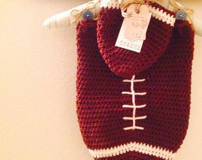 Newborn Crocheted Football Swaddle Set, Gift set, Photo prop, Halloween Costume, Cocoon