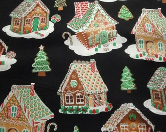 Gingerbread Houses Tossed on Black B/G-Silver Metallic-Timeless Treasures-BTY