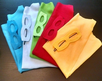 Children Plain Fleece Superhero Cape and Matching masks
