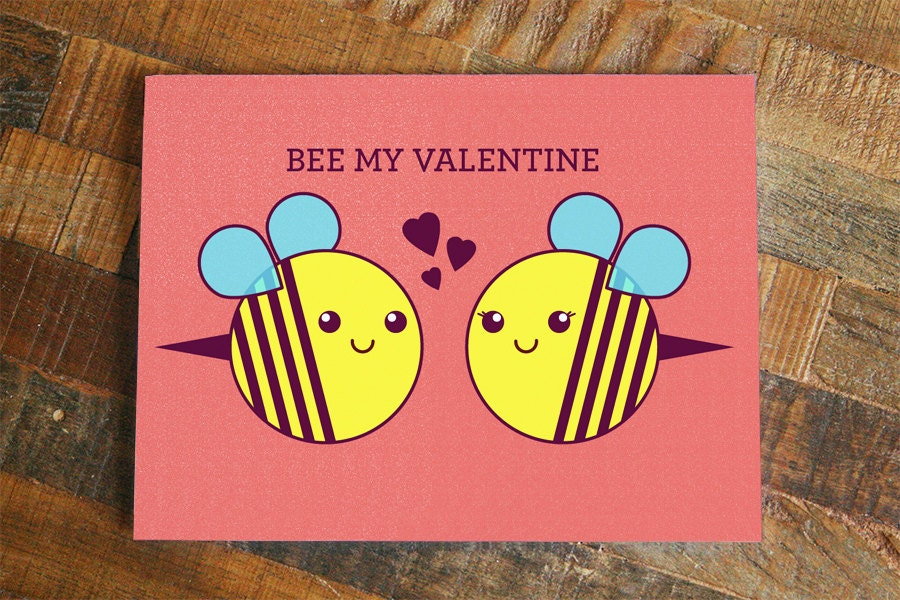 Valentines Day Card Bee My Valentine cute bees – Bee My Valentine Card
