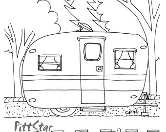 Simple RV Camper Coloring Page