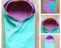 Soft hooded babyblanket Turqoise Lilac Pink ++