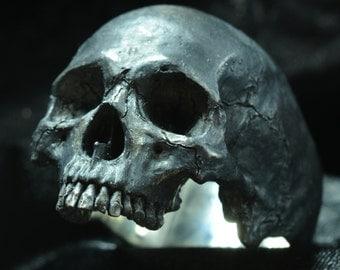 Into The Fire Jewelry - Skull ring Large half jaw silver mens skull biker masonic rock n roll gothic handmade jewelry .925 etsy