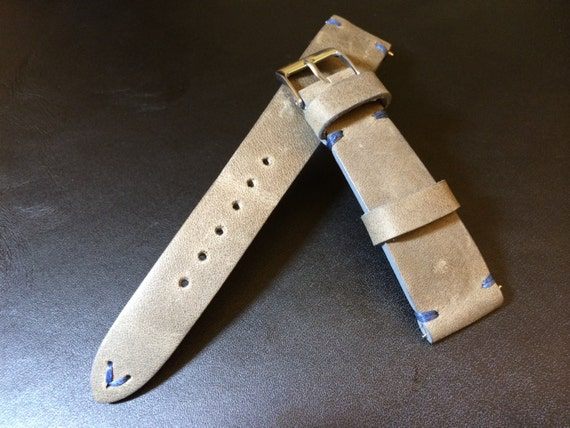Vintage Real Leather Strap for Rolex | Leather watch band | Vintage watch strap | 19mm, 20mm watch strap | Grey Leather strap for IWC, Tudor