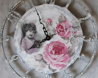 Wall Clock. Home Decor. Tenderness. Decoupage technique. Shabby Chic. Vintage Style