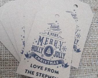 18 x kraft Personalised Rustic/Vinatge/Shabby Chic Merry little Christmas Tags